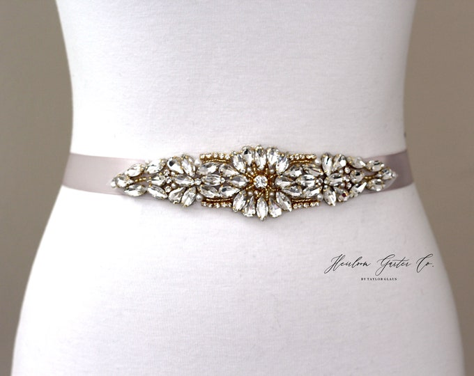 Gold Bridal Belt, Bridal Sash, Beaded Bridal Sash, Wedding Belt, Wedding Sash Rhinestone Sash B62G
