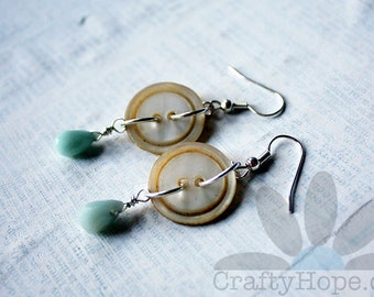 Amazonite Drops and Button Earrings - mother pf pearl buttons, amazonite briolette teardrops, silver tone wire