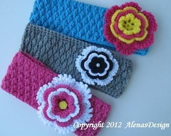 Crochet Pattern 058 - Donna Headband, Ear Warmer, Neck Warmer - Toddler Child Teen Adult Girl Ladies Women Head Wrap Crocheted Flower Cowl