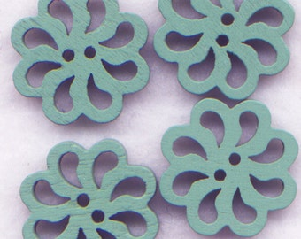 Blue Lace Flower Buttons Laser Cut Wooden Buttons 20mm (7/8 inch) Set of 8/BT130