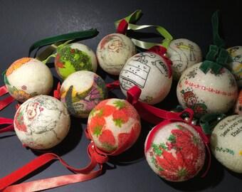 Vintage 16 Decoupage Christmas Ornaments Bauble Unbreakable Handmade