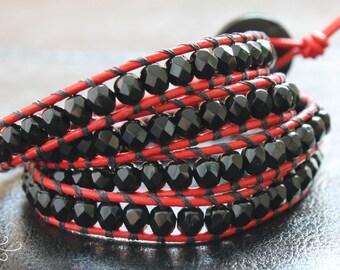 leather wrap bracelet, beaded bracelet, wrap beaded bracelet, leather bracelets women, beaded jewelry, boho jewelry, bohemian jewelry