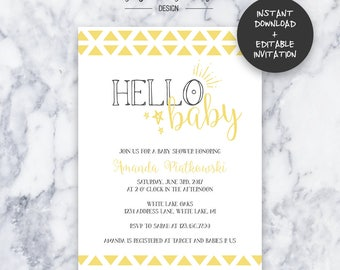Hello Baby Baby Shower Invitation | INSTANT DOWNLOAD | Editable PDF| Do It Yourself | Printable