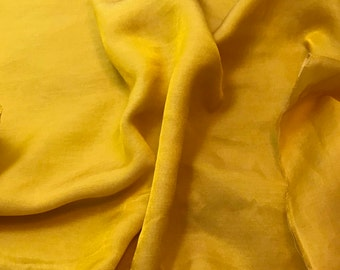Hand Dyed HONEY MUSTARD YELLOW Silk and Cotton Blend Sateen Fabric - 1 Yard