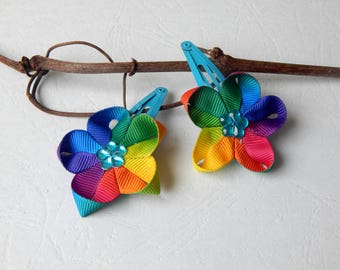 Pair of clip kanzashi turquoise blue and multicolor Ribbon clips