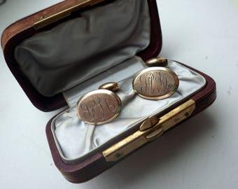Turn of the Century Cufflinks - Gold - Ornate Design.