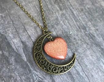 Gorgeous Gold Sandstone Crescent Moon Necklace, Moon Pendant, Bronze, Gift