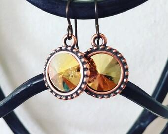 Metallic Sunshine Swarovski Crystal Rivoli Drop Earrings, Swarovski Earrings, Gold Earrings, Yellow Earrings, Weddings, Classic Jewelry