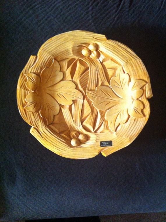Hein Vintage German Hand Carved Wood Decorative Plate Wall