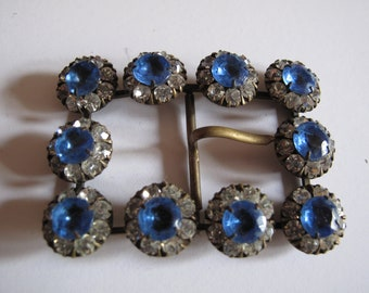 "1 1800's brass buckle with blue and white stones in flower formation 55 mm by 40 mm or  2 1/4"" by 1 1/2"" ref 1443"
