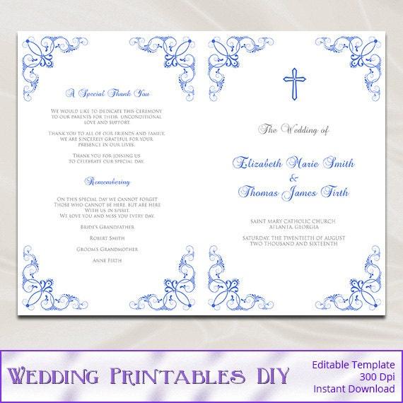 Catholic Wedding Program Template Diy Royal Blue Ceremony