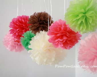 SALE - 10 Small Tissue Paper Pom Poms - Choose Your Colors - Fast Shipping -  Wedding / Baby Shower / Birthday Party