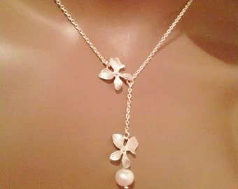 Orchid necklace, orchid jewelry, flower necklace,orchid with pearl lariat necklace,bridal jewelry, bridesmaid gift, flower girl gift ,