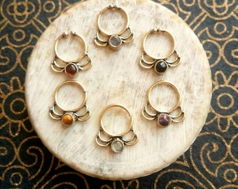 Septum Ring with stone, Real septum, fake septum, Real brass Septum Ring, piercing Septum, Cuff, Septum Clip, Tragus, Helix, Cartilage. GS4