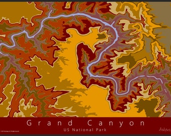 Grand Canyon Topo Map Art   US National Park Map   Grand Canyon Topo Map   National Park Art   Contour Map Art   Arizona Topo Map