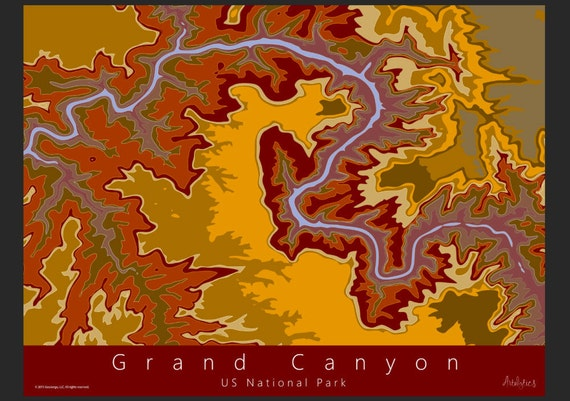 Grand Canyon Topo Map Art US National Park Map Grand