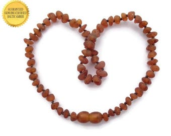 Teething Necklace, Baltic Amber Teething Necklace for Baby Boy, RAW Cognac Amber, Reduce Teething Pain, Drooling, Rash, *SAFETY Knotted