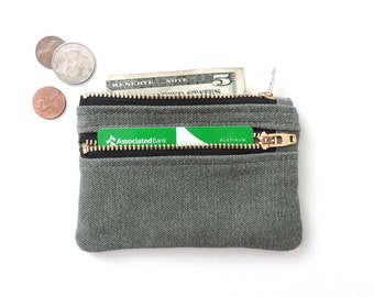 Distressed Canvas Coin Purse Slim Wallet Double Zipper Pouch