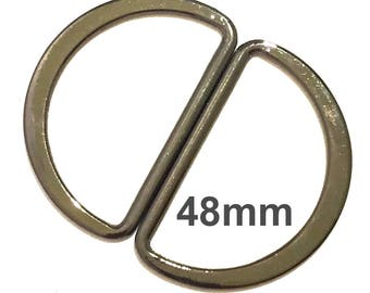 Large D-rings 48mm ID / D-Rings / Purse Hardware / Gunmetal D Rings / SET of TWO