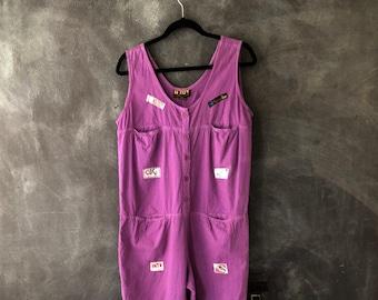 80s Jumpsuit Coveralls Jumper Onesie Oversized Patched Purple Cotton Ladies Size L