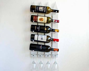 Unique Wall Mounted Wine Rack | Stemware Glass Holder | Wine & Glasses Rack