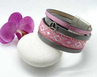 "Pearl Pink and grey Cuff Bracelet ""peace"""
