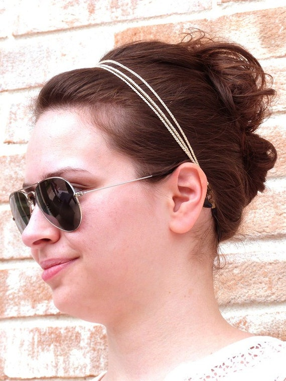 "Beige headband 3 braids - wedding hair vine / ceremony / every day - ""Gypsy Chic"" Collection"