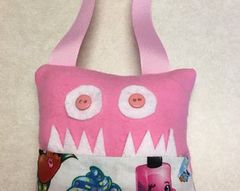 Flannel/Cotton Character Tooth Fairy Pillows with handle to hang & Monster Faces