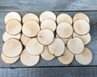 """25 Birch wood slices 2"""" - 2 3/8"""""""