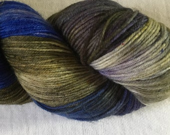 Purple and Olive Hand Dyed 4ply Sock Wool/Nylon Yarn