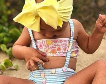 Pink lemonade toddler bikini / swimwear /bathing suit/ baby swim suit/ beach glam/infant swimsuit/ beach wear/ fancy swim suit/ baby bikini