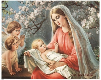 Virgin Mary & Infant Jesus with Angels 8x10 Catholic Picture Print Art