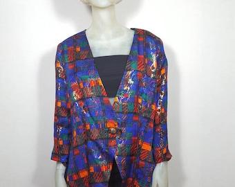 Shiny oversized party blazer shoulderpads size M/L 80s