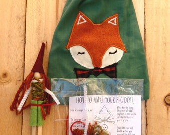 Woodland Gift Bag Peg Doll Kit