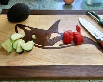 Whale Inlay Wood Cutting Board