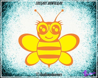 Cute Bumble Bee, Design Elements,Cut Files, Eps, Svg, Png, Vector
