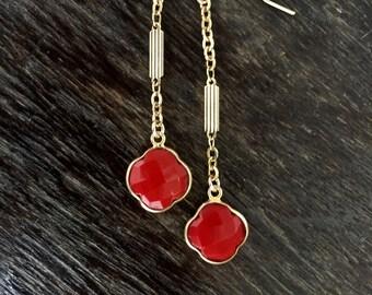 Coral Earrings,Coral Earrings Gold,Gold Coral Earrings,Chain Earrings,Coral Jewelry,Summer Jewelry,Beachy Jewelry,Gold Coral Earrings Dangle