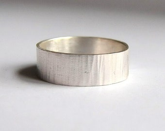 Ring for men III, hammered silver