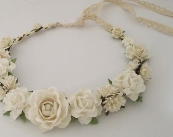 White Rose paper flower crown wedding floral crown festive flower headband