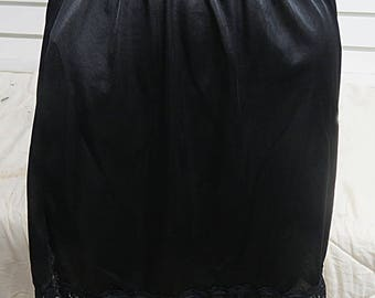 Black Vintage Nylon  Half Slip Small  #433