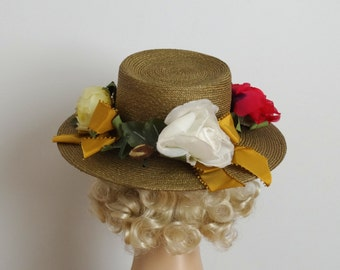 ON SALE - Vintage 1960s Hat - 60s Straw Hat - The Lorelai