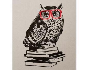 Owl Art Print / Hipster Owl Print / Animal Print / Owl Wall Art / Glasses Print / Home Decor / 8 x 10