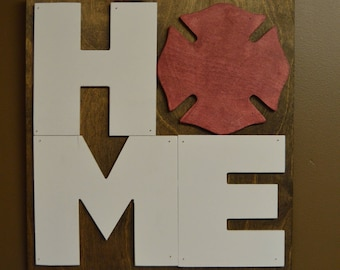 Home Sign With Maltese Cross / Wooden Sign / Firefighter Sign / Fireman  Decor / Home