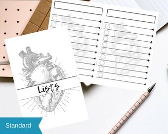 Standard/Narrow TN Printable Anatomical Heart Lists/Checklists Insert | Digital Download