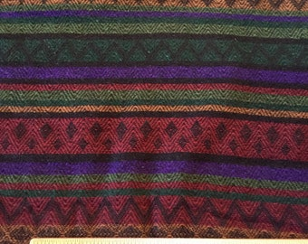 Multi Color Striped Fabric,Heavy Knit,Zigzag,Diamonds,Red,Green,Geometric,1 1/2 yards,60 inches wide