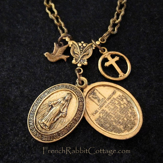 medal mother tiny miraculous pin catholic virgin on medallion gold jewelry necklace vermeil chain mary religious a