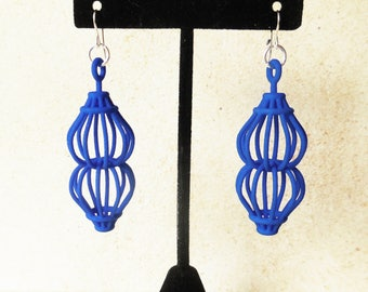 Ruth -- Blue 3D Printed Earrings - they spin! | 3d printed jewelry