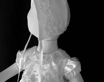 Beautiful Satin and Lace Jeweled Christening Gown from wedding dress - Ready to ship! Size 3-6 months- OR I can make custom from YOUR dress!