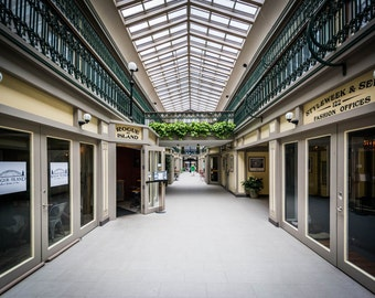 The interior of the Arcade, in downtown Providence, Rhode Island. Photo Print, Metal, Canvas, Framed.