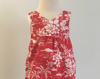 Hawaiian Dress - Red and White Floral